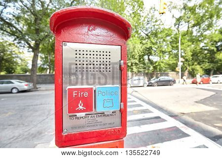 New York USA - August 18 2015: Police and Fire emergency call box located by the Central Park in New York City USA.