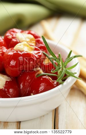 appetizer antipasti sweet peppers stuffed with soft cheese