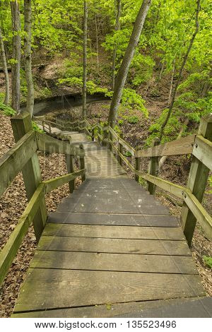 A boardwalk to a small waterfall in the woods.