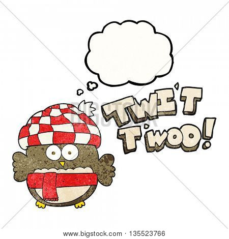 freehand drawn thought bubble textured cartoon cute owl saying twit twoo