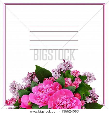 Pink peony hawthorn and lilac flowers arrangement isolated on white