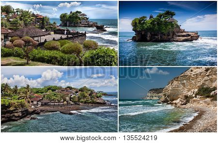 Set. Tanah Lot Temple on the Ocean in Bali Island Indonesia