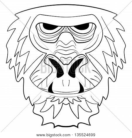 The graphic image of the monkey monkey head the face. Drawing by hand on a white background. Vector illustration quick monkey tattoo ink sketch