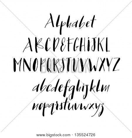 Collection of hand drawn alphabet letters. Letters of the alphabet written with a pen. Vector alphabet. Ink illustration. Hand drawn lettering background. Isolated on white background.
