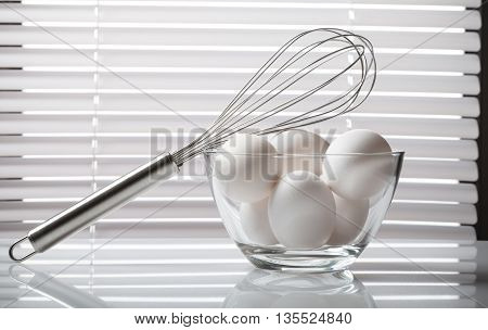 Fresh Eggs In Glass Bowl