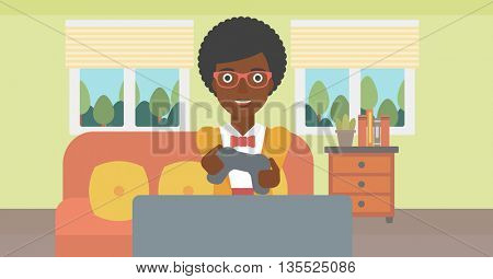 An enthusiastic african-american woman sitting on a sofa with gamepad in hands in living room vector flat design illustration. Horizontal layout.