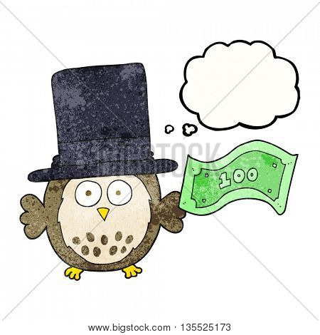 freehand drawn thought bubble textured cartoon rich owl