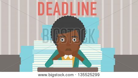 A stressed african-american woman sitting at the table with stacks of papers and having problem with deadline vector flat design illustration. Horizontal layout.