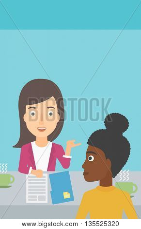 A journalist interviewing an african-american woman on a light blue background vector flat design illustration. Vertical layout.
