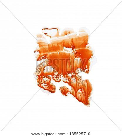 Orange watercolor shape. Abstract colorful background.Ink illustration. Isolated on white background. Hand drawn watercolor frame. Monotype effect.