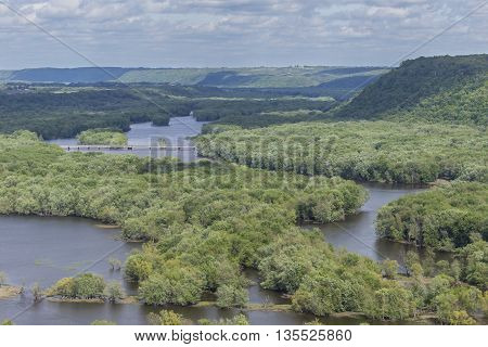 A river landscape scenic with the Wisconsin River emptying into the Mississippi River.