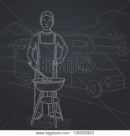 A man preparing barbecue  on the background of motorhome in the forest. Hand drawn in chalk on a blackboard vector sketch illustration.