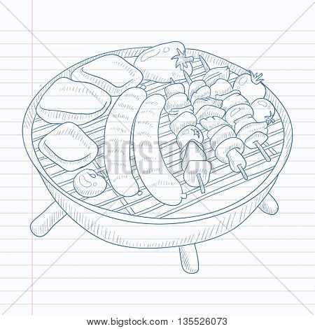 Assorted delicious grilled meat with vegetable on a barbecue grid. Grilled meat hand drawn on notebook paper in line background. Grilled meat vector sketch illustration.