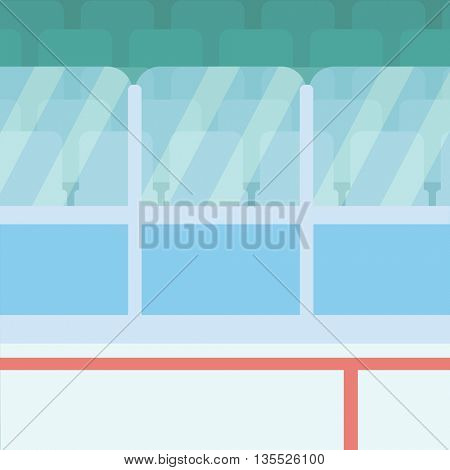 Background of ice hockey stadium with boards and glass vector flat design illustration. Square layout.