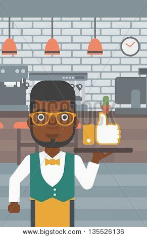 An african-american waiter carrying a tray with like button on a cafe background vector flat design illustration. Vertical layout.