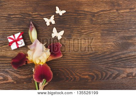Misty rose irises with decorative butterflies on the wooden background with blank copy space area for text or slogan