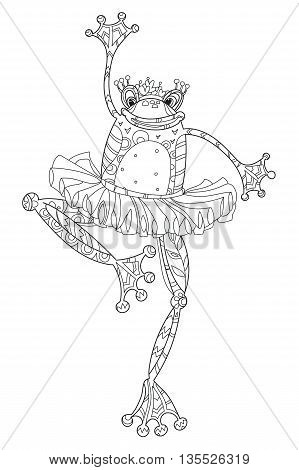 Cute Frog Girl ballerina.Vector illustration zen art isolated ready for coloring book.