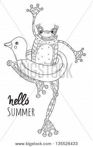 Cute Frog Baby with rubber ring duck.Vector illustration zen art isolated ready for coloring book.