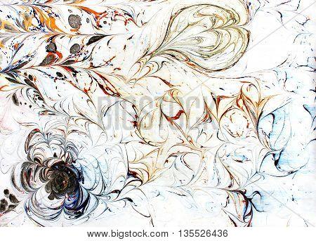 Hand drawn ebru ornament. Wavy texture. Ink illustration. Ebru pattern for your design. Hand drawn watercolor background.