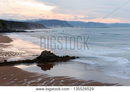 Twilight Ocean Coast View.