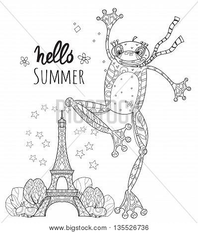 Cute Frog Boy in Paris.Vector illustration zen art isolated ready for coloring book.