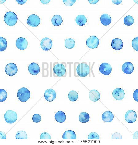 Seamless blue sky watercolor pattern. Polka dots ornaments for your design. Circle elements. Hand drawn painted background. Ink illustration.