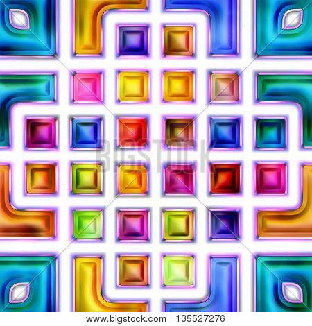 Seamless texture of abstract bright shiny colorful geometric shapes. Isolation on a white background 3D illustration