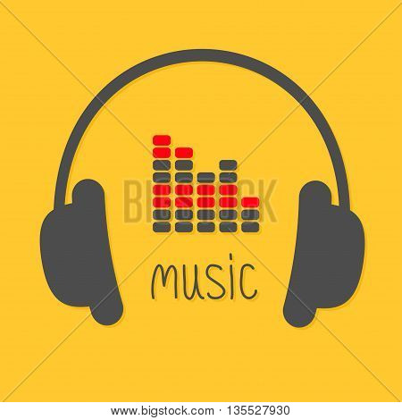Headphones equalizer and black word Music. Icon in Flat design style Yellow background. Vector illustration
