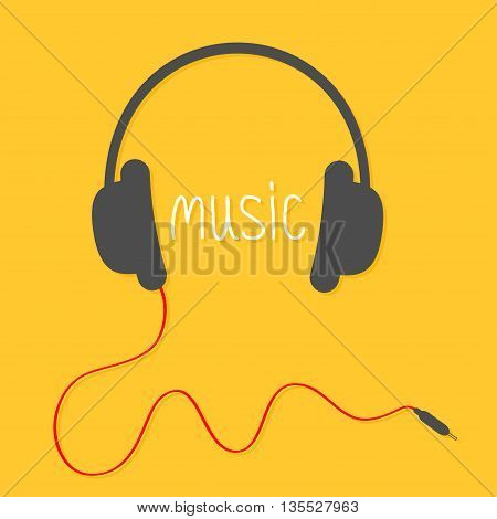 Black headphones with red cord and white word Music. Flat design icon. Yellow background. Vector illustration