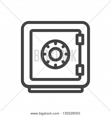 Security single isolated modern vector line design icon with a safe, vault