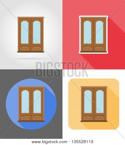 cupboard furniture set flat icons vector illustration isolated on white background