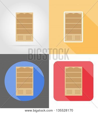bookcase furniture set flat icons vector illustration isolated on white background