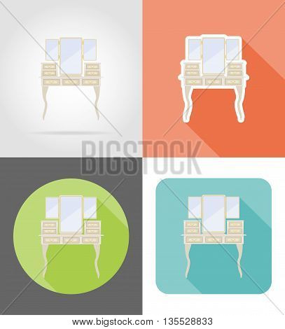 vanity table old retro furniture set flat icons vector illustration isolated on white background