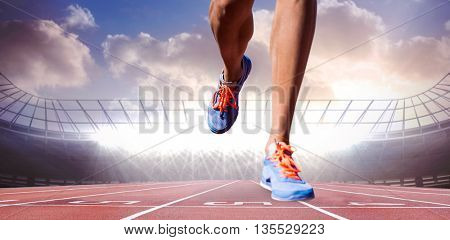 Close up of sportsman legs walking on a white background against race track