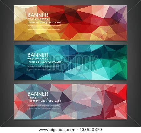 Three Banners With Abstract Multicolored Polygonal Mosaic Background.