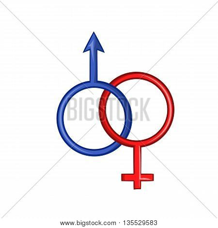 Sign man and woman icon in cartoon style isolated on white background. Gender symbol
