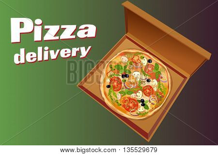 Pizza with mushroom and tomato, basil and olives, in pizza box on green background isolated. Pizza delivery text. Pizza to go. For pizza delivery service or pizzeria. Vector illustration stock vector.
