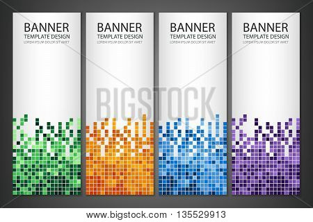 Abstract Square Pixel Mosaic Banners Set. Vertical Banner. Vector