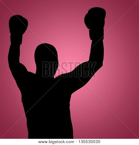 Boxer posing after victory against red vignette