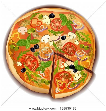 Pizza with mushroom and tomato, basil and olives pizza with a slice on white isolated. Vector illustration stock vector.
