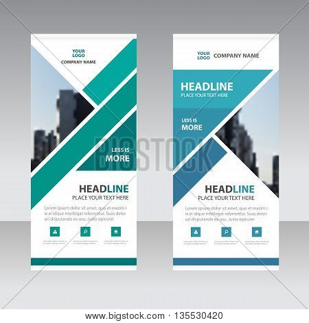 Green Blue triangle Business Roll Up Banner flat design template Abstract Geometric banner template Vector illustration set abstract presentation template