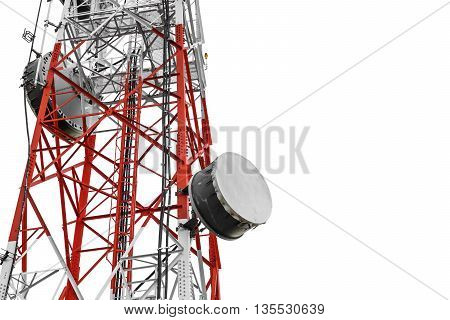 Telecommunication towers with TV antennas and satellite dish, isolated on white background