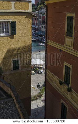Portofino Italy - May 29 2015: The marina of Portofino from hidden corner