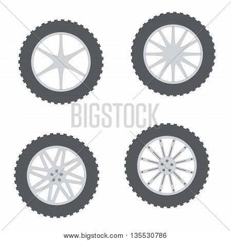 Set of wheels with a variety of drives on white background