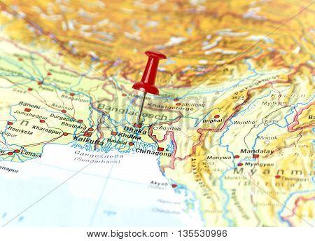 Map with pin set on Dhaka, Bangladesh