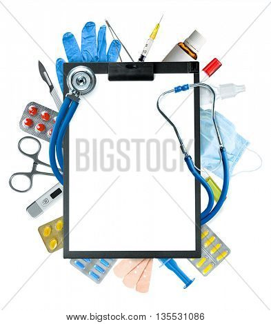 Black clipboard, stethoscope and other medical items isolated on white