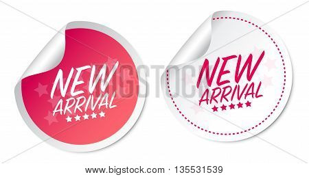New Arrival on white and pink stickers