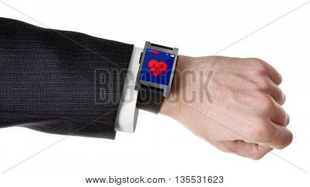 Hand and heart icon on smart watch isolated on white