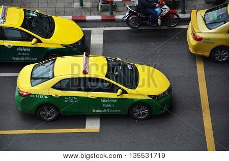 BANGKOK THAILAND - JUNE 18: Bangkok Taxi meter on the downtown street on June 18 2016 in Bangkok Thailand