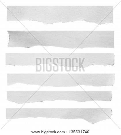 Piece of black and white torn paper on white background with clipping path.